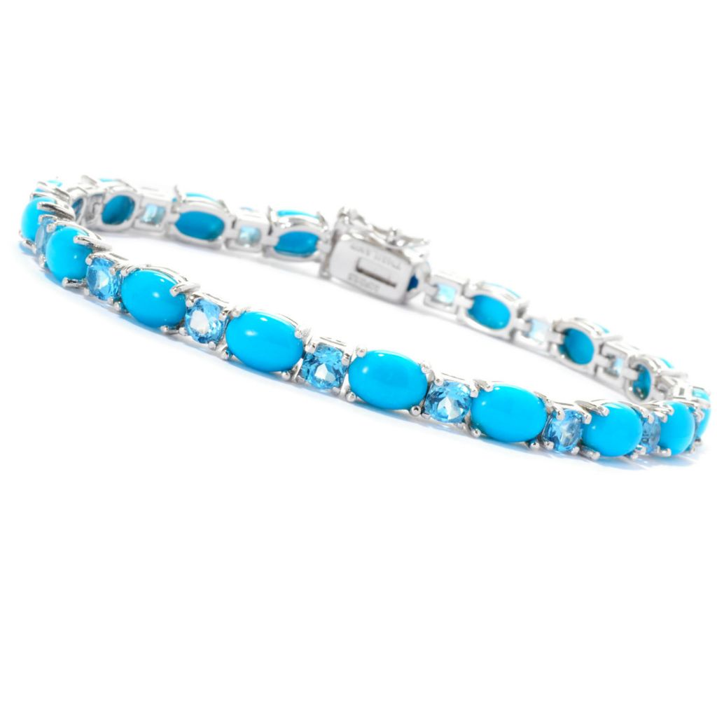 "129-098 - Gem Insider Sterling Silver 7.5"" Sleeping Beauty Turquoise & Topaz Bracelet"