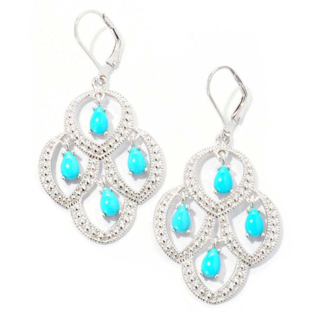 129-099 - Gem Insider Sterling Silver Pear Shaped Sleeping Beauty Turquoise Earrings