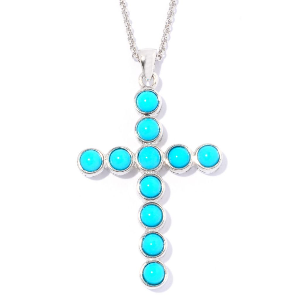 "129-100 - Gem Insider 18"" Sterling Silver Sleeping Beauty Turquoise Cross Pendant w/ Chain"