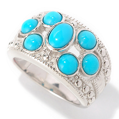 129-101 - Gem Insider™ Sterling Silver Sleeping Beauty Turquoise Seven-Stone Ring