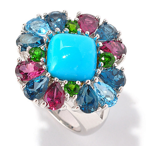 129-102 - Gem Insider™ Sterling Silver 10mm Sleeping Beauty Turquoise & Multi Gem Ring