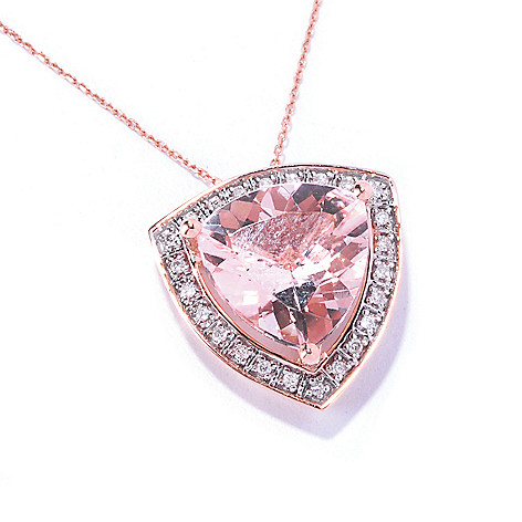 129-176 - Gem Treasures 14K Rose Gold 4.30ctw Morganite & Diamond Trillion Pendant w/ Chain