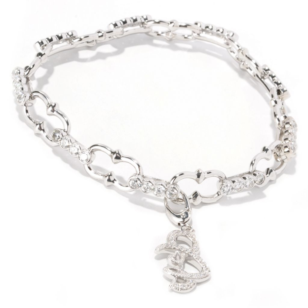129-180 - Sonia Bitton Pave Set Simulated Diamond Charm Bracelet