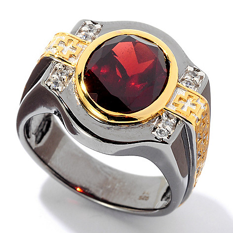 129-198 - Men's en Vogue II 5.91ctw Garnet & White Sapphire Maltese Cross Ring