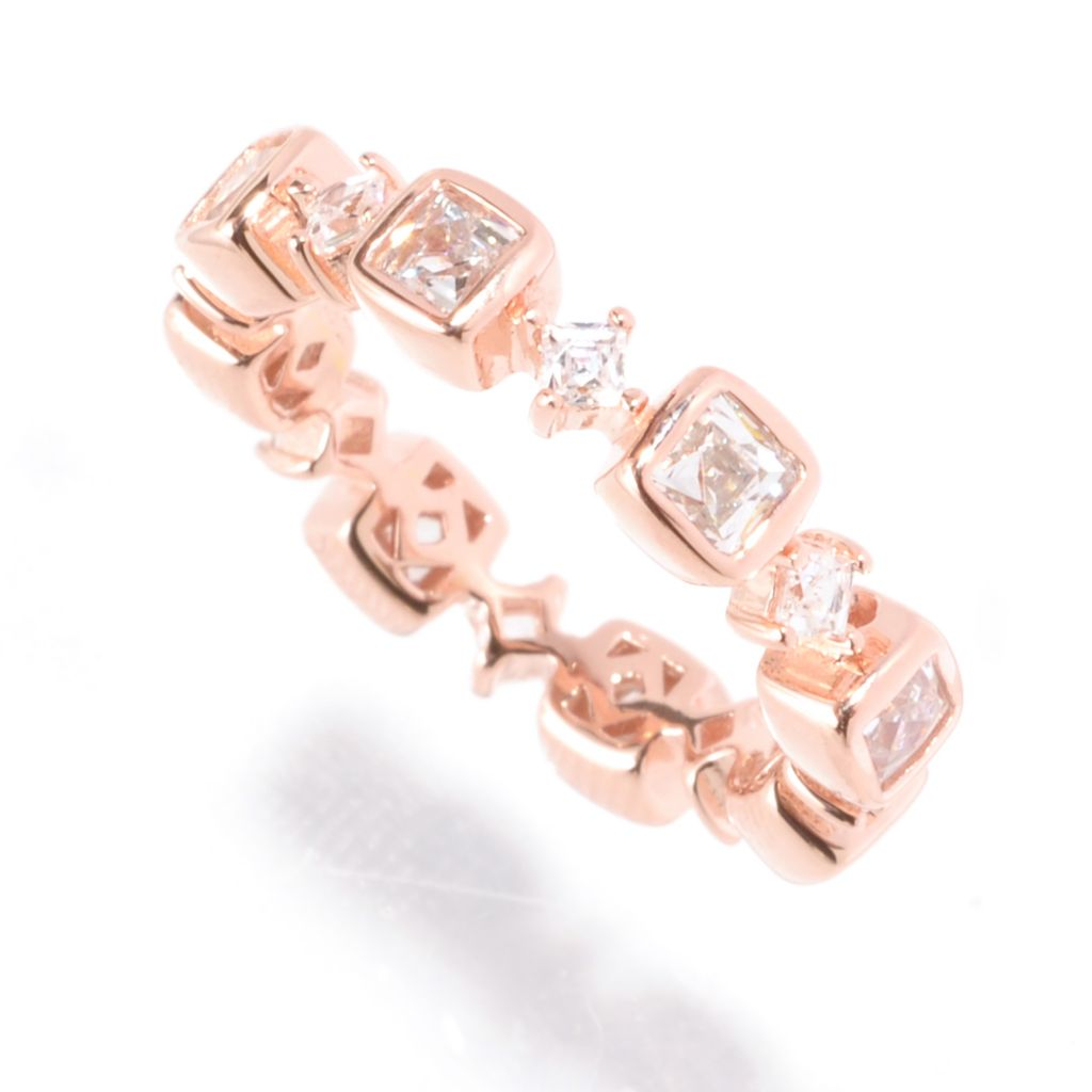 129-205 - TYCOON 1.63 DEW Bezel & Prong Set Simulated Diamond Eternity Band Ring