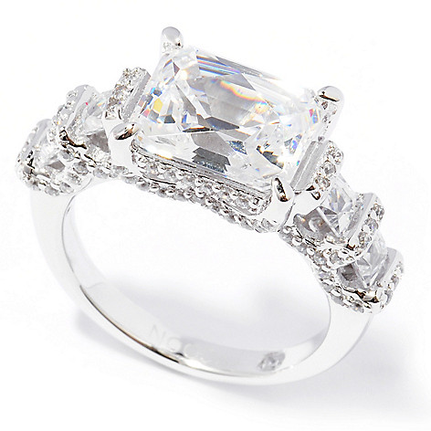 129-207 - TYCOON 4.90 DEW Platinum Embraced™ Rectangle & Round Simulated Diamond East-West Ring