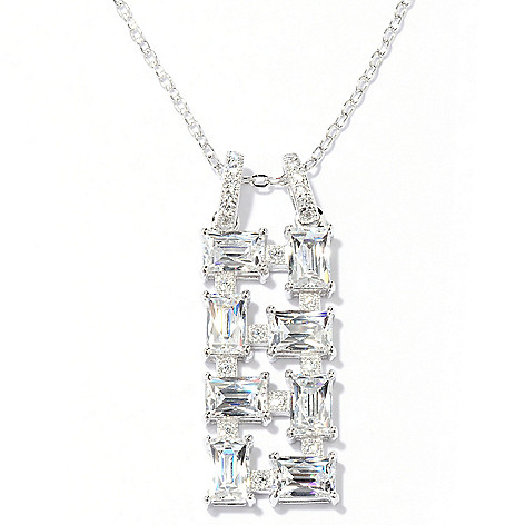 129-208 - TYCOON Platinum Embraced™ 3.44 DEW Simulated Diamond Drop Pendant w/ Chain