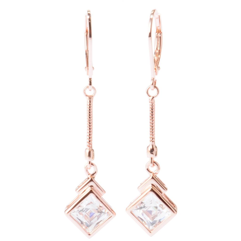 "129-210 - TYCOON 1.75"" 2.52 DEW Square Cut Bezel Set Drop Earrings"