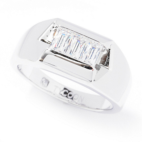 129-215 - TYCOON Men's Platinum Embraced™ Rectangle Cut Simulated Diamond Three-Stone Ring