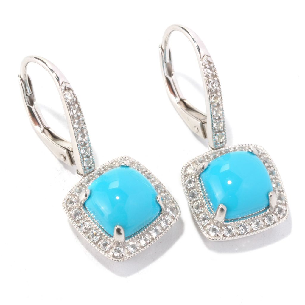 129-216 - Gem Insider Sterling Silver 8mm Cushion Shaped Sleeping Beauty Turquoise & White Topaz Earrings