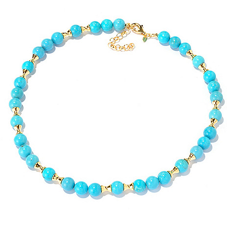 129-219 - Portofino Gold Embraced™ 19'' Turquoise Bead & Fancy Station Necklace