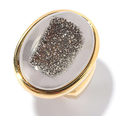 129-220 - Portofino 18K Gold Embraced™ 24 x 17mm Drusy Oval Ring