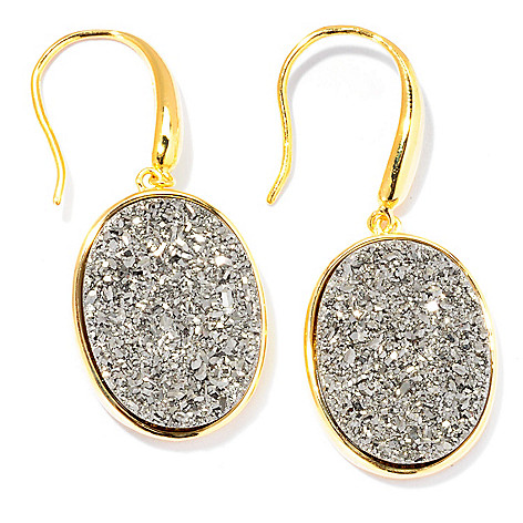 129-221 - Portofino Gold Embraced™ 19 x 15mm Silver Drusy Drop Earrings