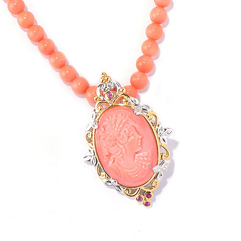 129-228 - Gems en Vogue 20'' Bamboo Coral Cameo Portrait & Pink Sapphire Beaded Necklace