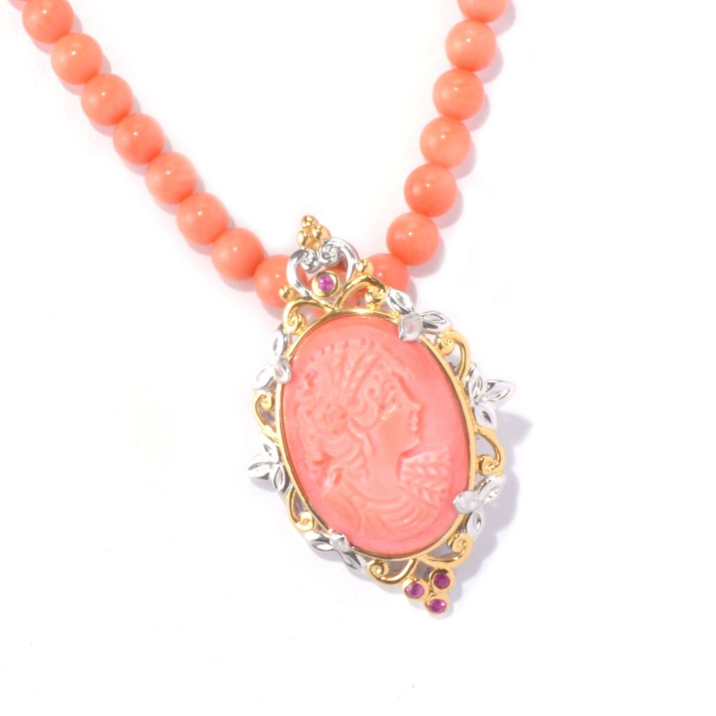 "129-228 - Gems en Vogue 20"" Bamboo Coral Cameo Portrait & Pink Sapphire Beaded Necklace"