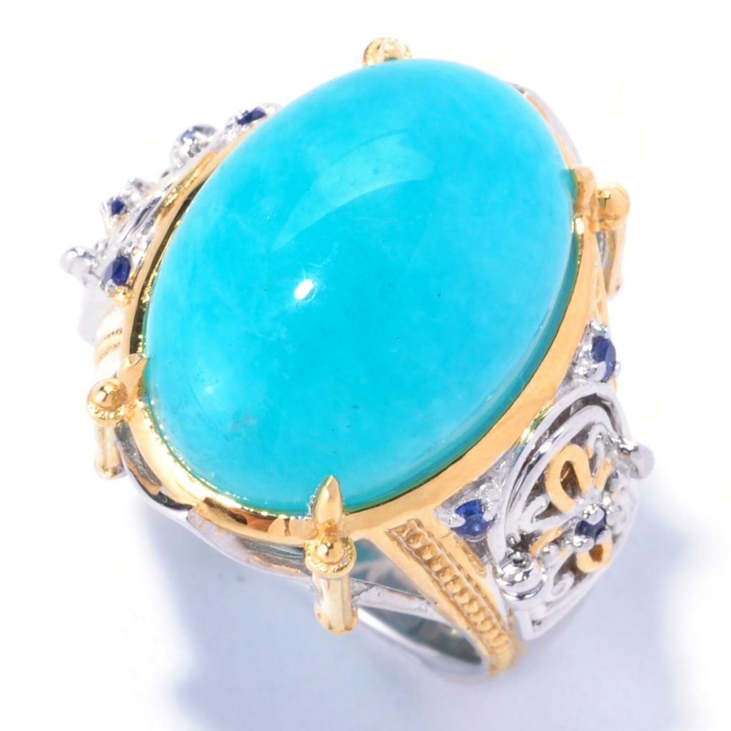 "129-231 - Gems en Vogue 18 x 13mm Amazonite & Sapphire ""Cathedral Door"" Ring"