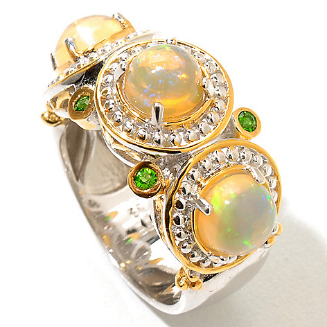 129-235 - Gems en Vogue Ethiopian Opal & Chrome Diopside Polished Ring