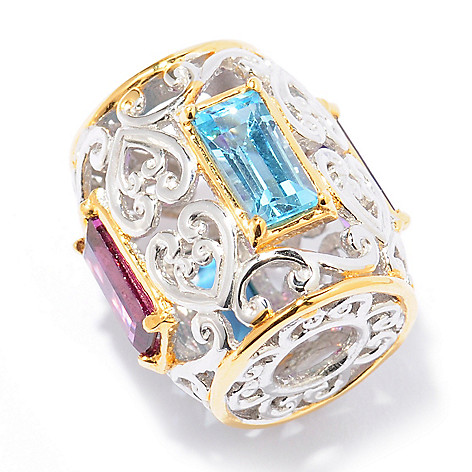 129-240 - Gems en Vogue II 2.21ctw Baguette Multi Gemstone Slide-on Charm