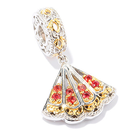 129-245 - Gems en Vogue II Orange Sapphire ''Flamenco Fan'' Travel Series Drop Charm