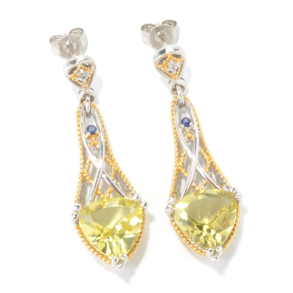 "129-248 - Gems en Vogue 7.80ctw Trillion Gemstone & Multi Sapphire 1.75"" Drop Earrings"