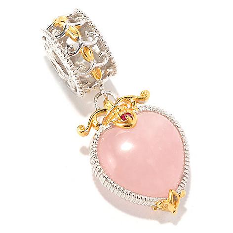 129-256 - Gems en Vogue 12 x 8mm Rose Quartz & Ruby Heart Drop Charm