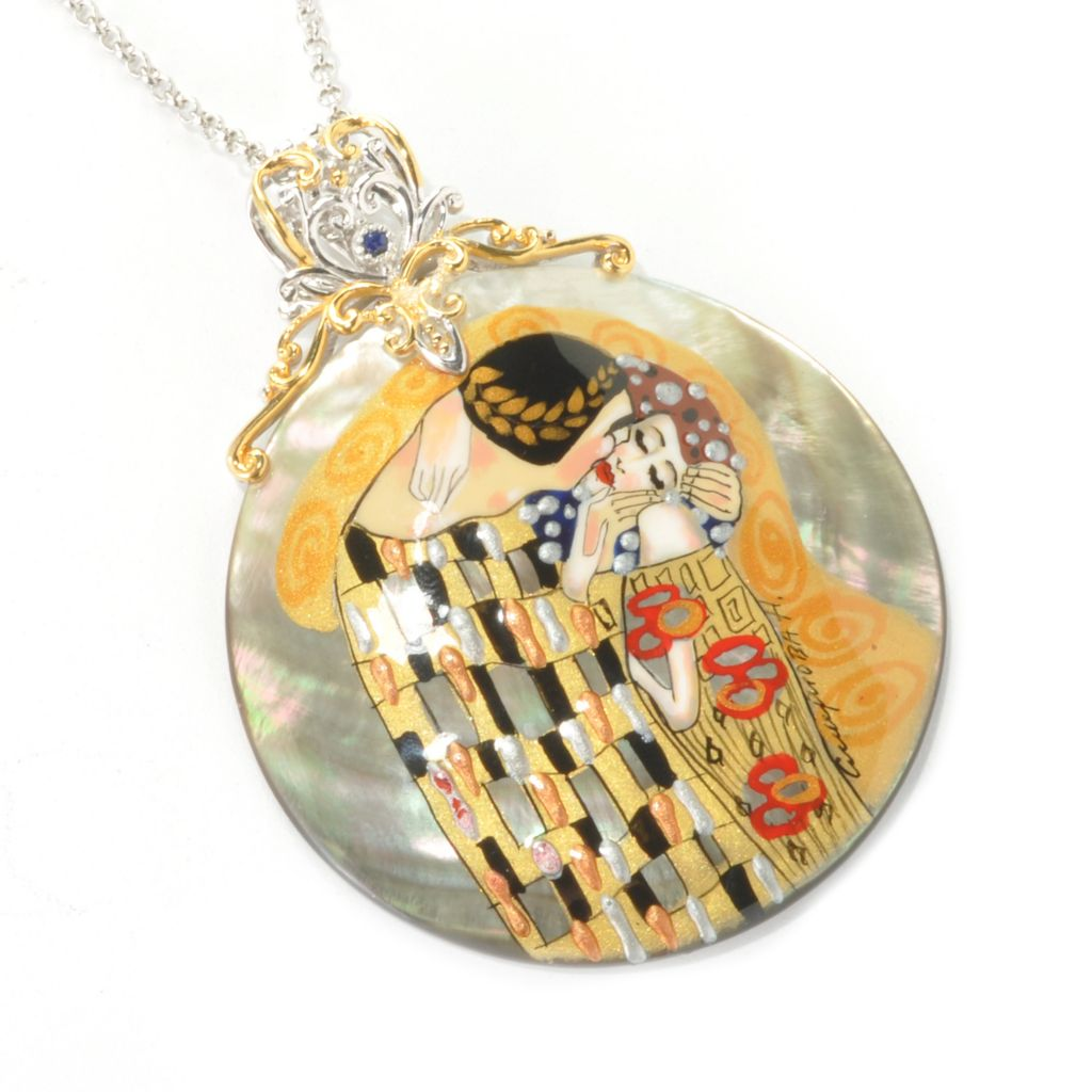 129-261 - Gems en Vogue II 50mm Painted Mother-of-Pearl Klimt-Inspired Enhancer w/ Chain