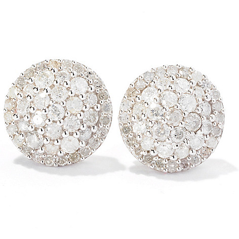129-268 - Diamond Treasures Sterling Silver 1.00ctw Diamond Pave Circle Stud Earrings