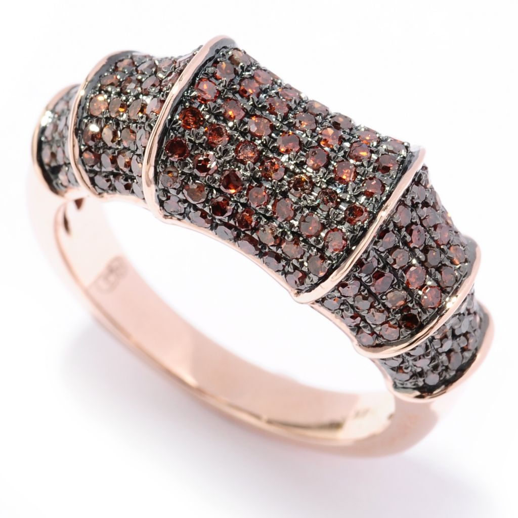 129-271 - Diamond Treasures 14K Gold 0.85ctw Fancy Color Diamond Bamboo-Style Ring
