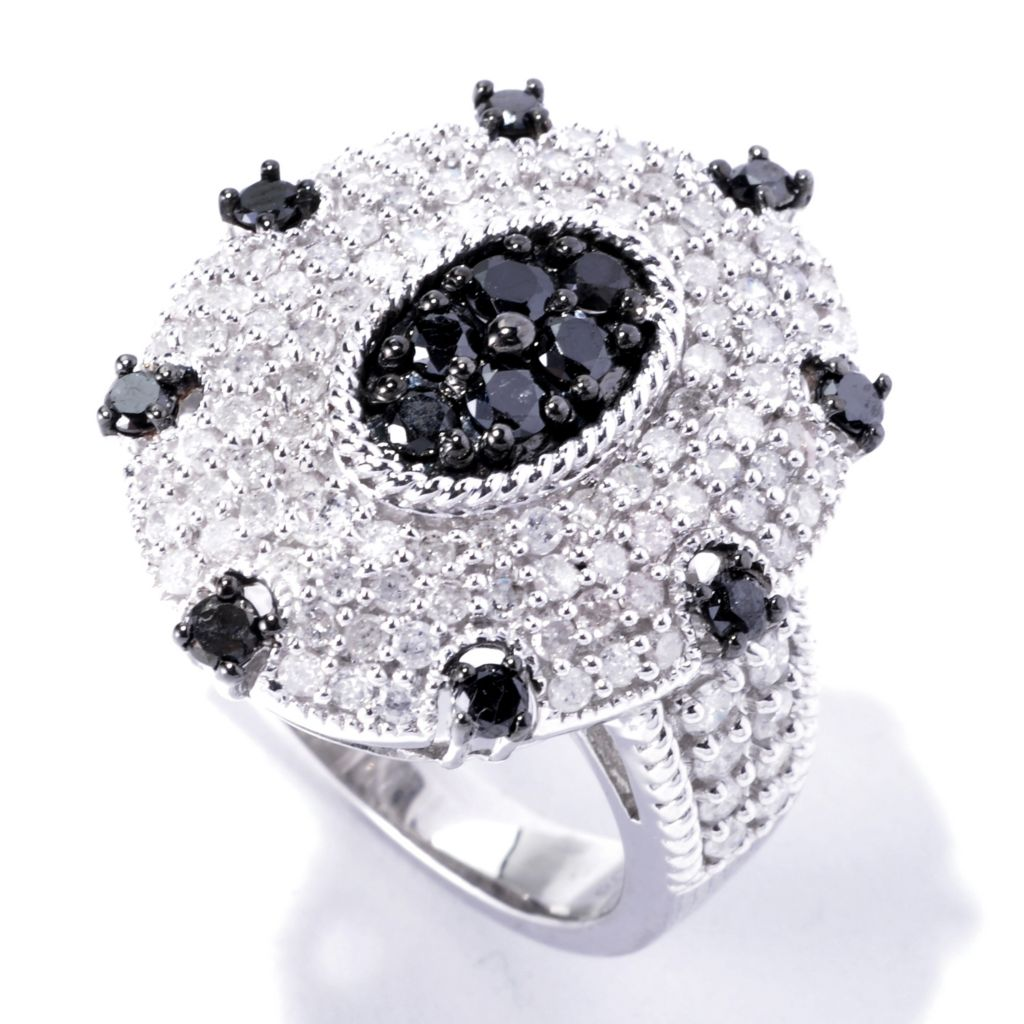 129-276 - Diamond Treasures Sterling Silver 1.98ctw Black & White Diamond Oval Ring