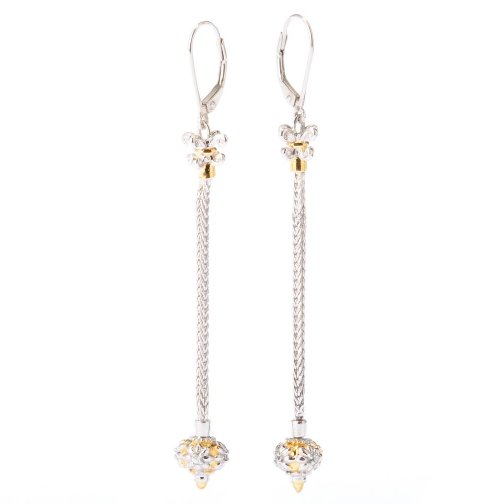 "129-283 - Gems en Vogue II White Sapphire Wheat Chain 2.75"" Dangle Earrings w/ Removable Bead"
