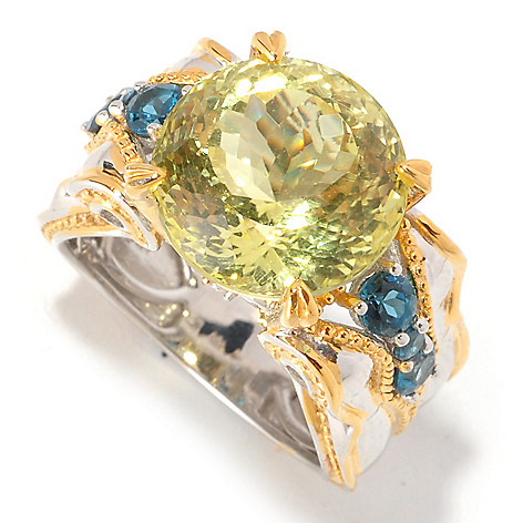 129-285 - Gems en Vogue 7.86ctw 250-Facet Ouro Verde & Multi Gemstone Ring