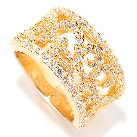 129-299 - Chad Allison™ Gold Embraced™ 1.12 DEW Simulated Diamond Pave Swirl Band Ring