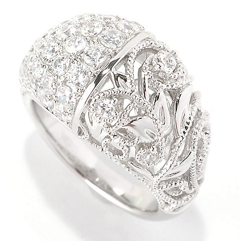 129-301 - Chad Allison™ Platinum Embraced™ 1.75 DEW Simulated Diamond Milgrain Filigree Dome Ring