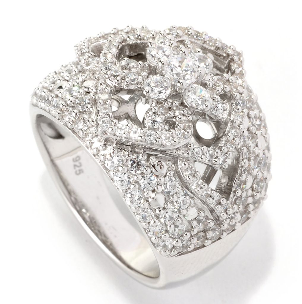 129-304 - Chad Allison™ Platinum Embraced™ 1.88 DEW Cut-out Simulated Diamond Flower Dome Ring