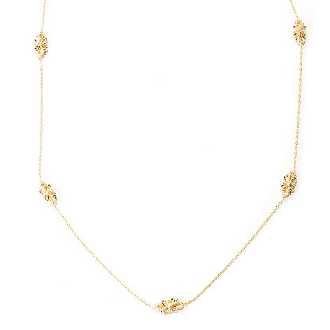 129-309 - Chad Allison™ Gold Embraced™ 30'' 2.60 DEW Simulated Diamond Filigree Station Necklace