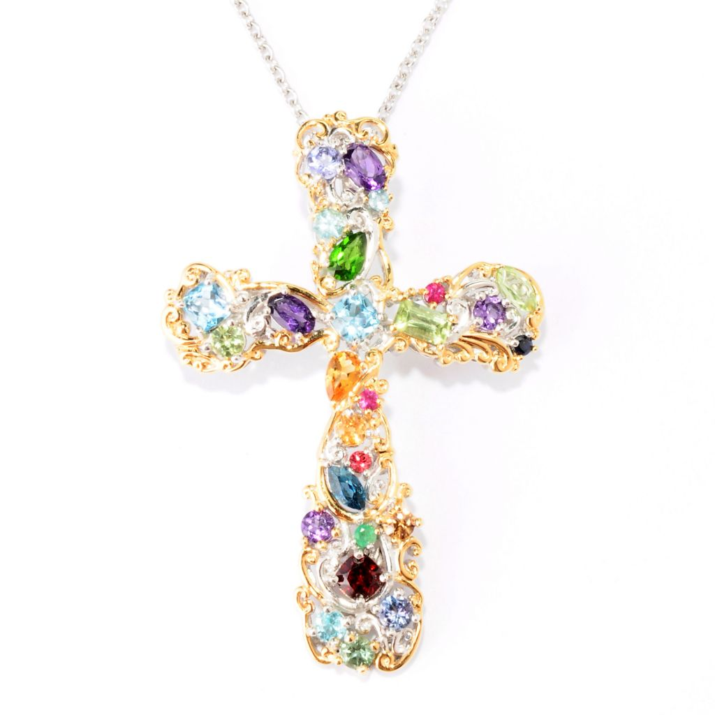 "129-318 - Gems en Vogue 3.28ctw Multi Gem ""Carnaval"" Cross Enhancer w/ 18"" Chain"