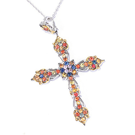 129-319 - Gems en Vogue II 3.00ctw Multi Color Sapphire Cross Enhancer Pendant w/ Chain