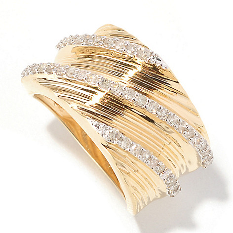 129-325 - Southport Diamonds Sterling Silver & 14K Vermeil 0.50ctw Diamond Twist Band Ring