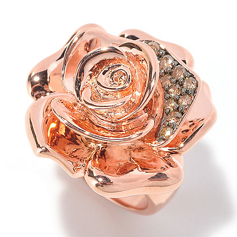 129-327 - Southport Diamonds Sterling Silver & 14K Rose Vermeil 0.33ctw Champagne Diamond Rose Ring
