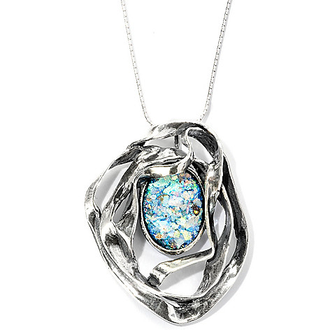 129-341 - Passage to Israel Sterling Silver 18 x 13mm Roman Glass Ribbon Pendant w/ Chain
