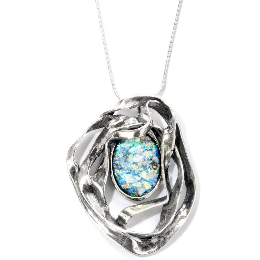 129-341 - Passage to Israel Sterling Silver 18 x 13mm Roman Glass Ribbon Pendant w/ Chain
