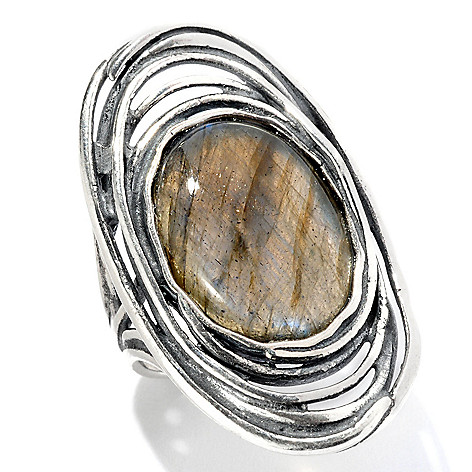 129-351 - Passage to Israel Sterling Silver 18 x 13mm Labradorite Elongated Ring