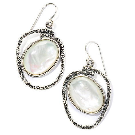 129-353 - Passage to Israel Sterling Silver 20 x 15mm Tilted Gemstone Hammered Dangle Earrings