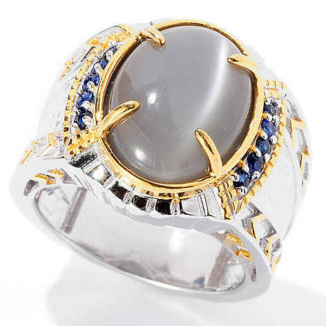 129-362 - Men's en Vogue II 16 x 12mm Grey Moonstone & Sapphire Ring