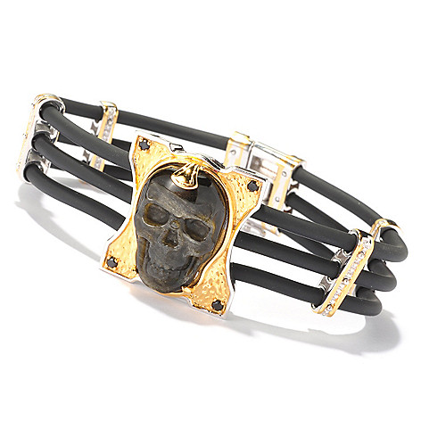 129-365 - Men's en Vogue II 25 x 15mm Carved Black Obsidian & Black Spinel Skull Bracelet