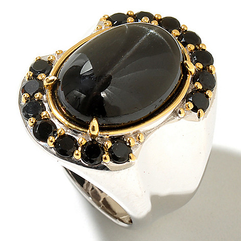 129-367 - Men's en Vogue II 18 x 13mm Black Star Diopside & Black Spinel Ring