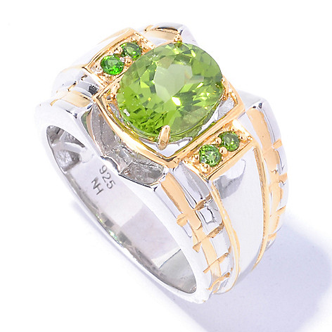 129-369 - Men's en Vogue 2.78ctw Peridot & Chrome Diopside Polished Ring