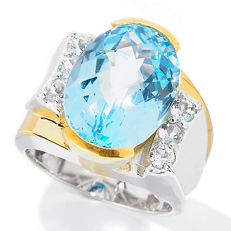 129-370 - Men's en Vogue 11.18ctw Checkerboard Cut Sky Blue Topaz & White Topaz Ring