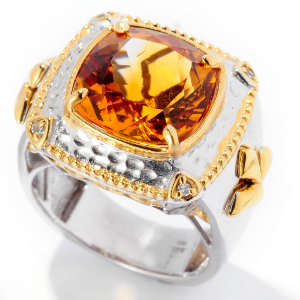 129-372 - Men's en Vogue II 8.29ctw Citrine & White Sapphire Cross Detail Ring