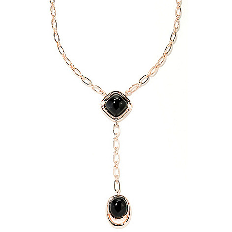 129-383 - Milano Luxe Gold Embraced™ 18'' Black Agate Drop Necklace